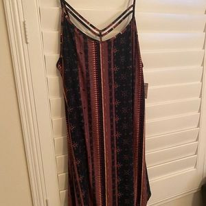 Aztec Print Dress with Strap Detailing